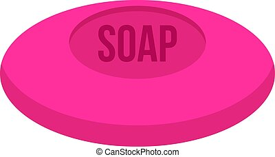 Pink soap icon isolated - Pink soap icon flat isolated on...