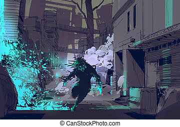 the futuristic beast running from blue light particles -...