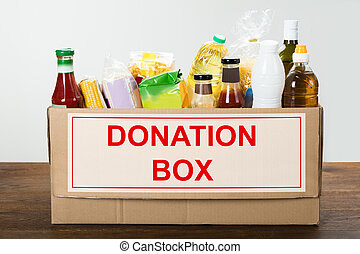 Food Items In Donation Box - Various Food Items In Donation...