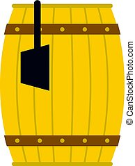 Wooden barrel with ladle icon isolated