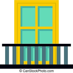 Balcony with a yellow window icon isolated