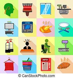 Supermarket service icons set, flat style - Supermarket...