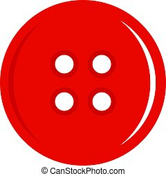 Red sewing button icon isolated - Red sewing button icon...