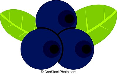 Fresh blueberries with leaves icon isolated - Fresh...