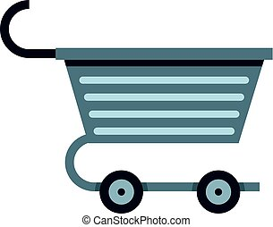 Metal trolley icon isolated
