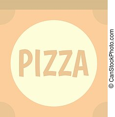 Cardboard box with pizza icon isolated - Cardboard box with...