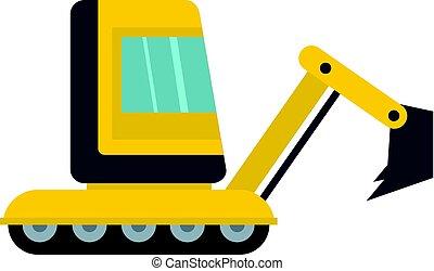 Yellow mini excavator icon isolated - Yellow mini excavator...