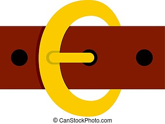Gold oval buckle icon isolated
