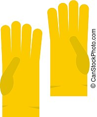 Yellow rubber gloves icon isolated - Yellow rubber gloves...