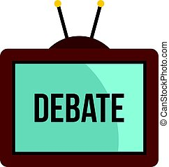 Retro TV with Debate word on the screen icon