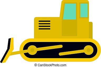 Yellow bulldozer icon isolated - Yellow bulldozer con. Flat...