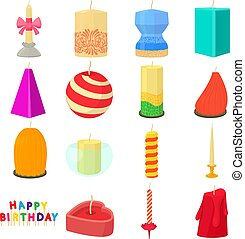 Candle forms icons set, cartoon style - Candle forms icons...