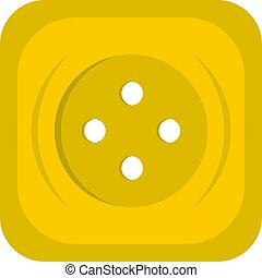 Yellow square sewing button icon isolated - Yellow square...