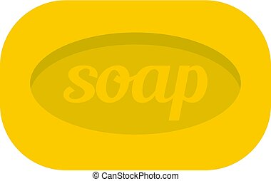 Yellow soap bar icon isolated - Yellow soap bar icon flat...