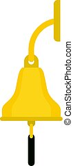 Golden ship bell icon isolated