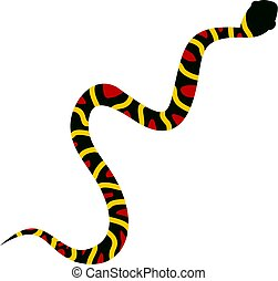 Gray snake with yellow stripes and red spots icon flat...
