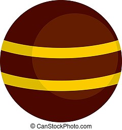 Brown with yellow stripes icon isolated - Brown with yellow...
