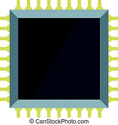 Computer microchip icon isolated