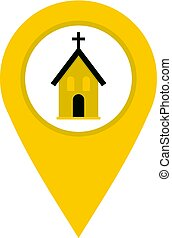Yellow map pointer with church sign icon isolated