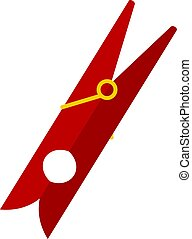Red clothes pin icon isolated - Red clothes pin icon flat...