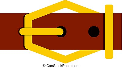Brown leather belt icon isolated - Brown leather belt icon...
