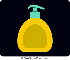 Yellow liquid soap bottle icon isolated - Yellow liquid soap...