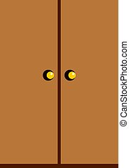 Wooden wardrobe icon isolated
