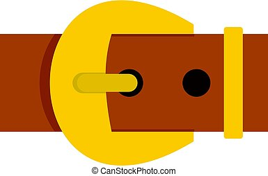 Gold buckle belt icon isolated - Gold buckle belt icon flat...