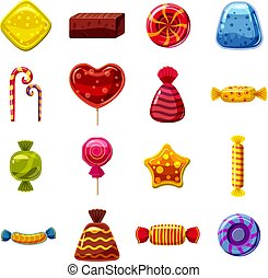 Sweets cakes icons set, cartoon style - Sweets cakes icons...