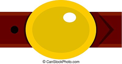 Belt with gold oval shaped buckle icon isolated