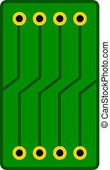 Green circuit board icon isolated
