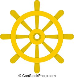 Wooden ship wheel icon isolated