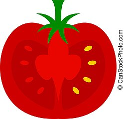 Red half of tomato icon isolated - Red half of tomato icon...