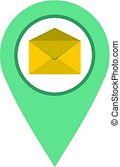 Geo tag mail icon isolated - Geo tag mail icon flat isolated...