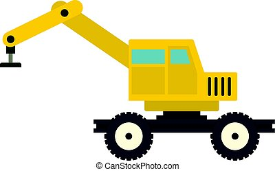 Crane truck icon isolated - Crane truck icon flat isolated...