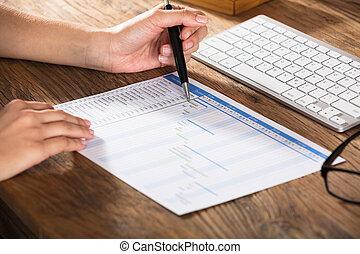 Woman Analyzing The Gantt Chart - Close-up Of A...