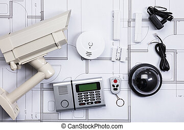 Security Equipments On Blueprint - High Angle View Of...
