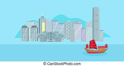 cartoon hongkong city