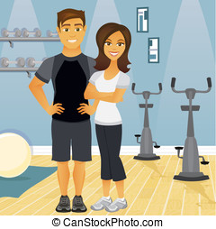 Workout partners in gym - A fit couple in an indoor gym...