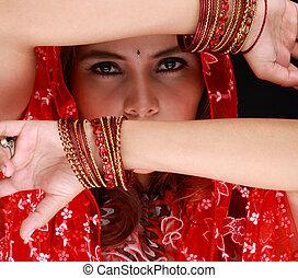 medio, oriental, bailando, belleza, modelo