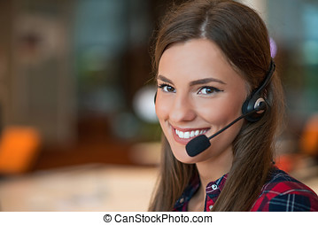 Young female in call center