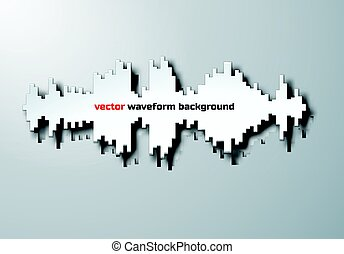 Silhouette of sound waveform with shadow - Paper silhouette...