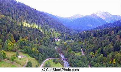 Beautiful aerial view on Caucasus mountain valley with river