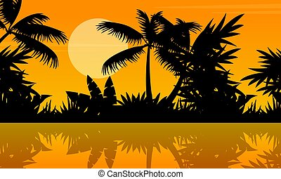 Silhouette of river on jungle scenery