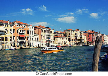 Grand Canal in Venice, Italy. Exquisite buildings along Canals.