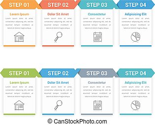 Four Steps Infographics - Infographic template with four...