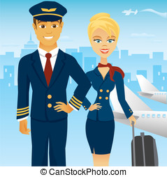 Flight team in airport - A pilot and stewardess in uniform...