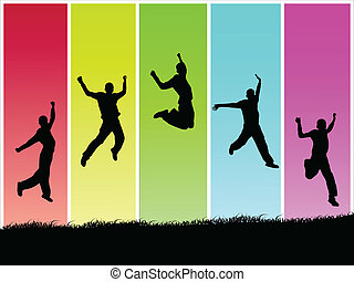 Jumps - Colorful image of silhouettes in jumping poses.