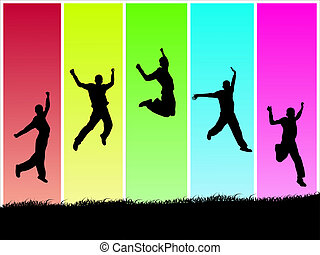 Image of silhouettes jumping on a colorful background.