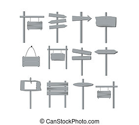 Image of various grey wooden signs isolated on a white background.